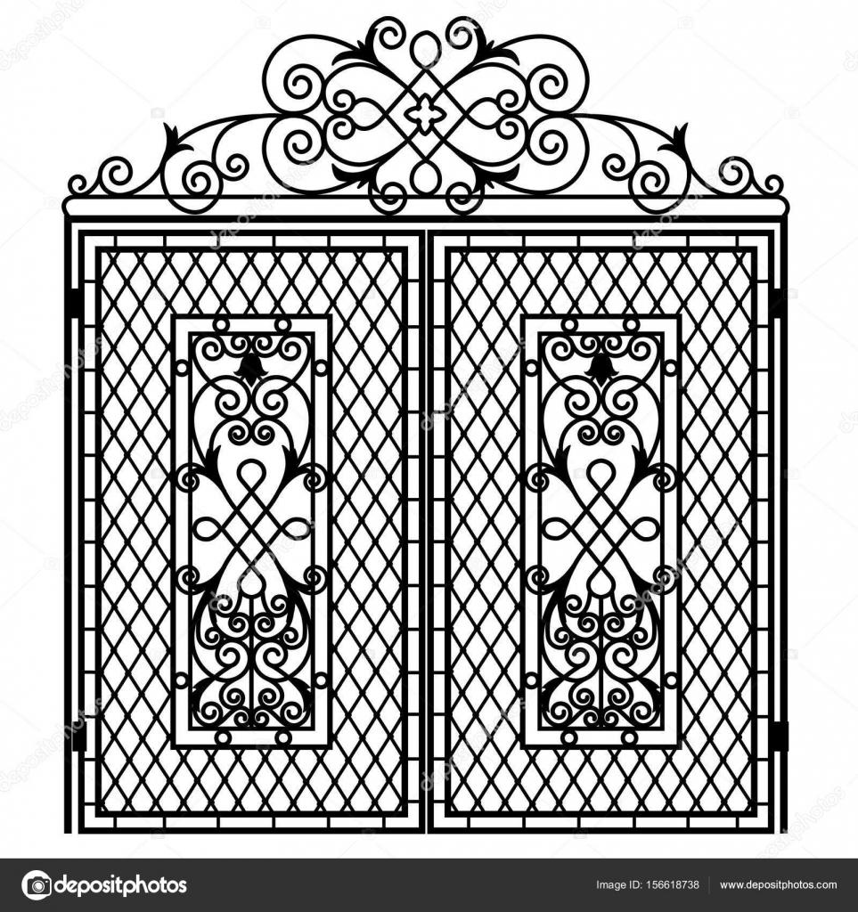 puerta de hierro forjado — Vector de stock © tatiana54 #156618738