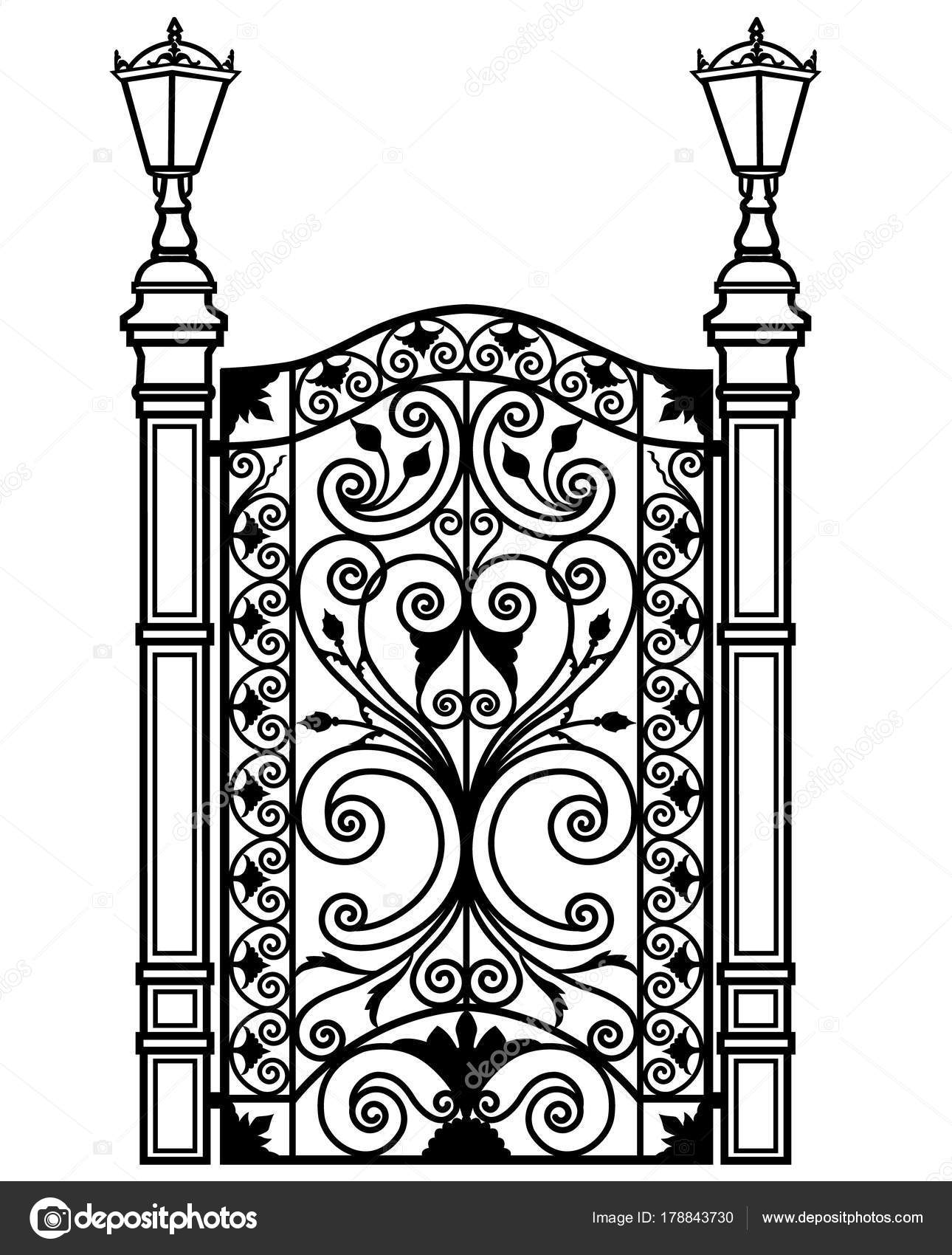 Black metal door with tracery ornaments and lanterns u2014 Vector by tatiana54  sc 1 st  Depositphotos & openwork metal door u2014 Stock Vector © tatiana54 #178843730