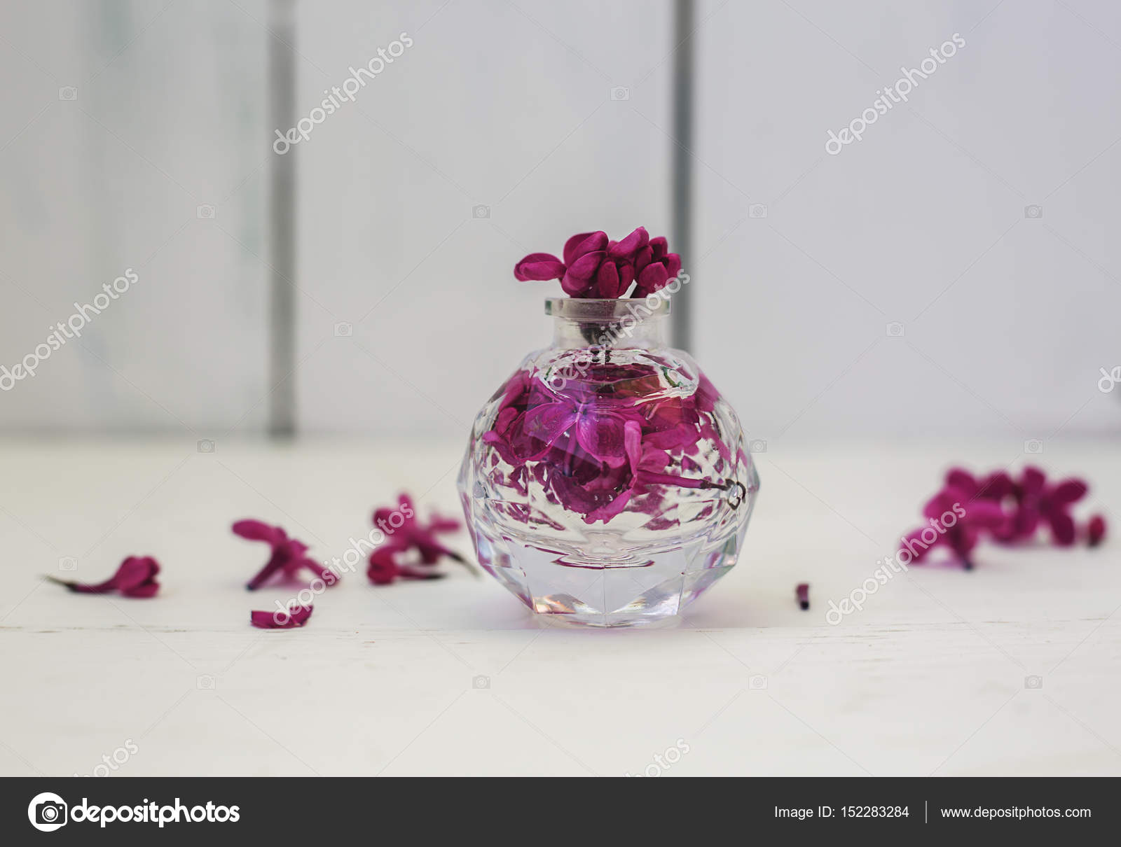 Perfume Bottle With Pink Flower Stock Photo Martyna1802 152283284