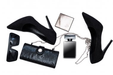 Stylish female accessories. Black  Shoes with perfume and access