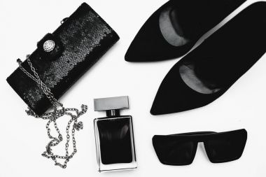 Stylish female accessories.Shoes with perfume and accessories