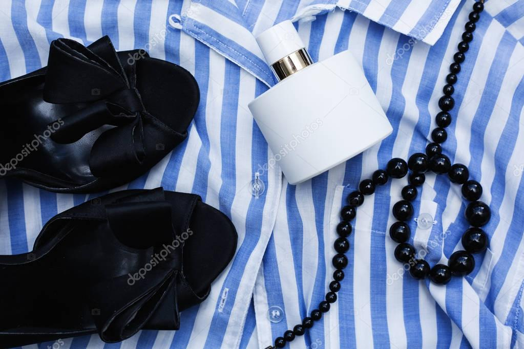 Stylish female clothes and accessories
