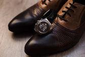 Pánské styl. Mužské boty a hodinky