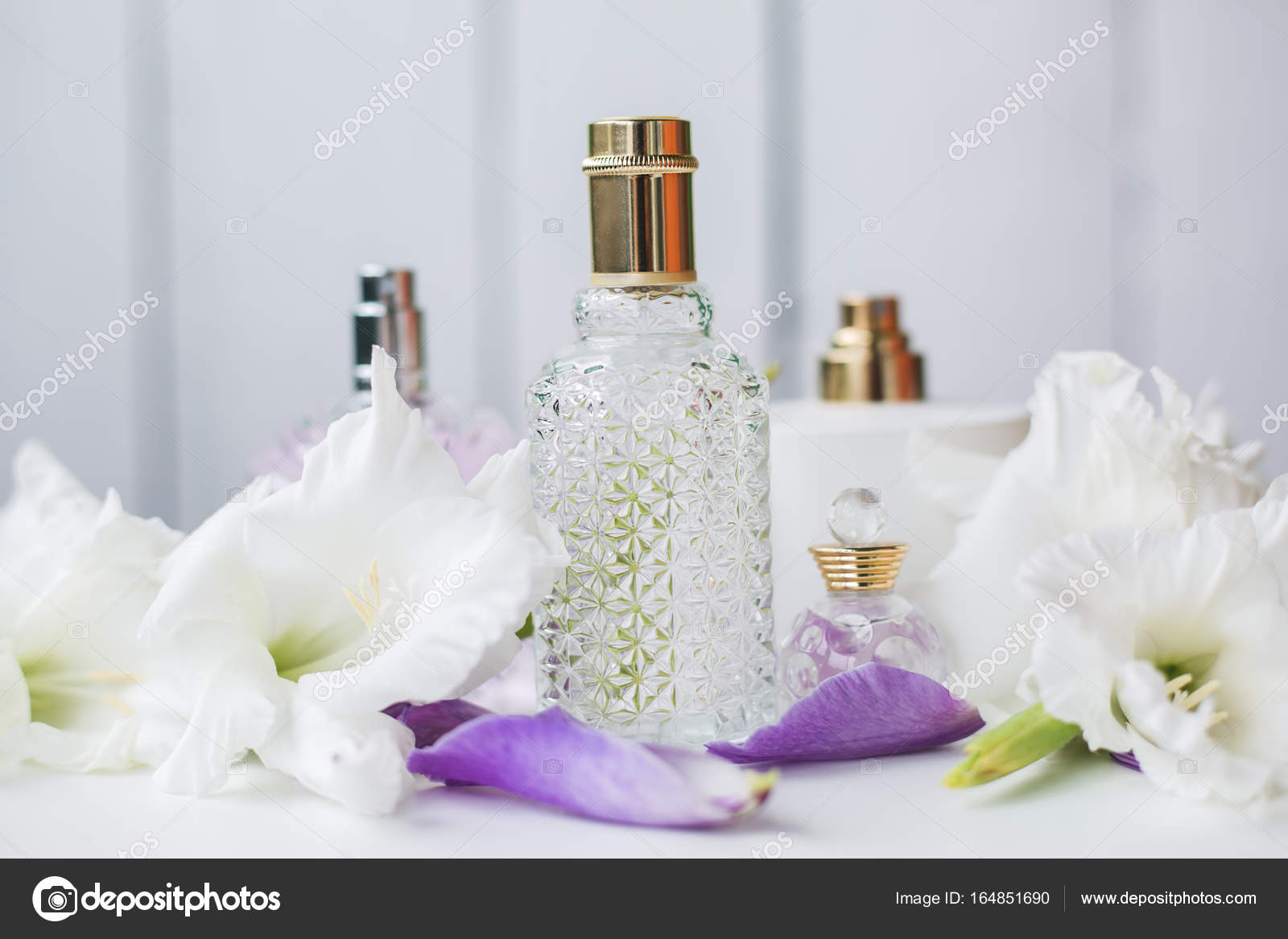 Different bottles of perfume with white flowers stock photo different bottles of perfume with white flowers photo by martyna1802 mightylinksfo