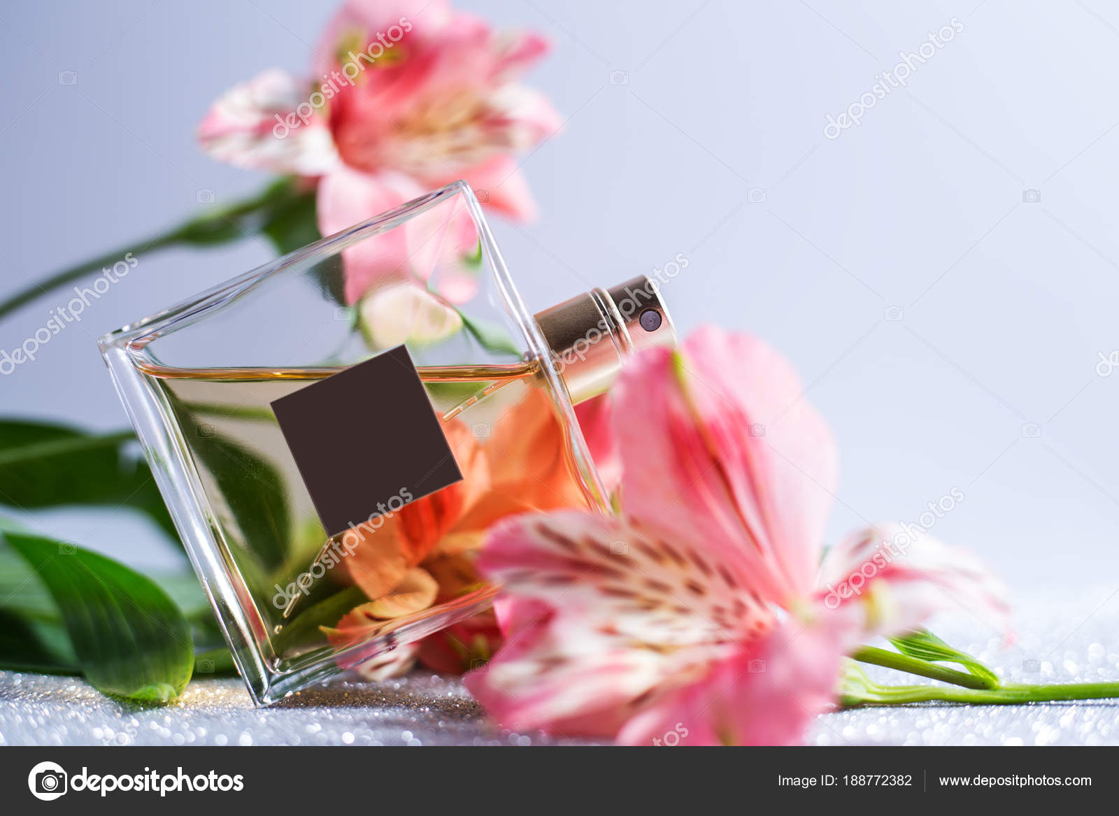 Perfume Spray Bottle With Pink Flowers Stock Photo Martyna1802