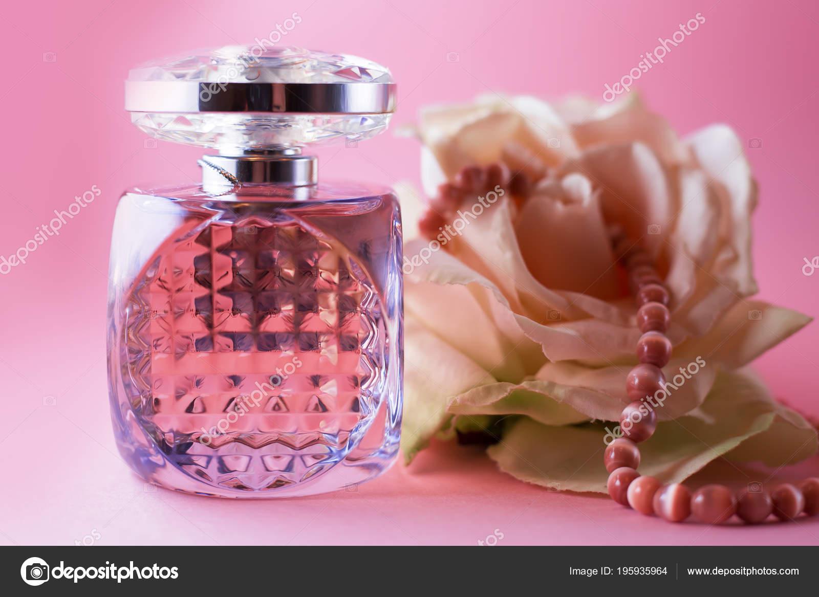 Female Perfume Pink Pearls Flower Stock Photo Martyna1802 195935964