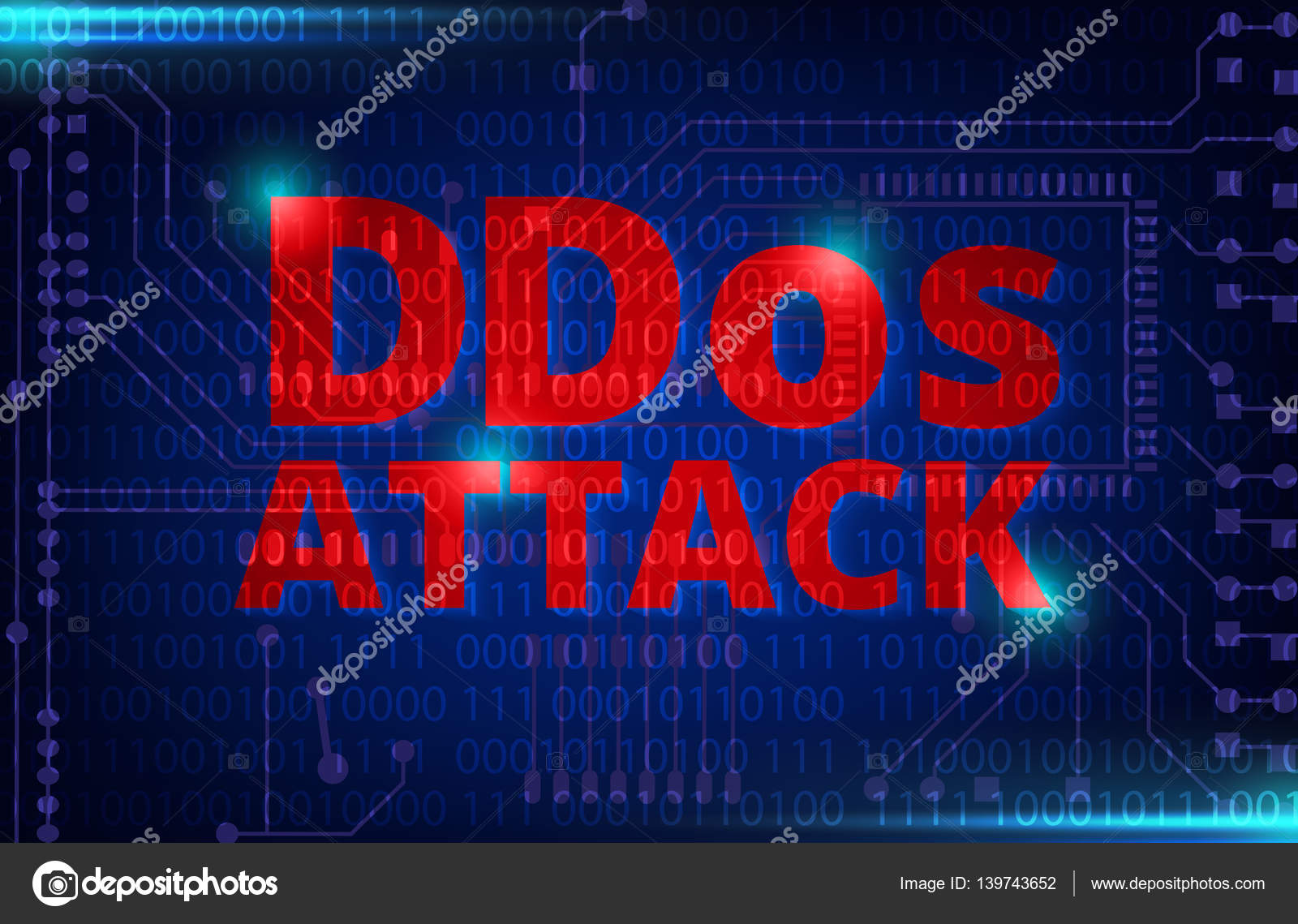 Ddos On A Digital Binary Warning Above Electronic Circuit Board Royaltyfree Images Code With Processor Background Vector By Nu1983
