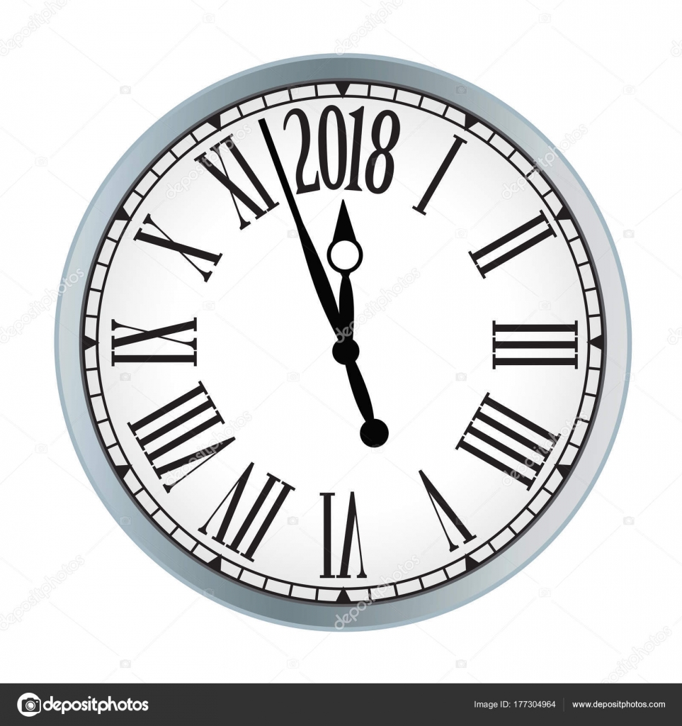 2018 New Year black clock on white background. — Stock Vector ...