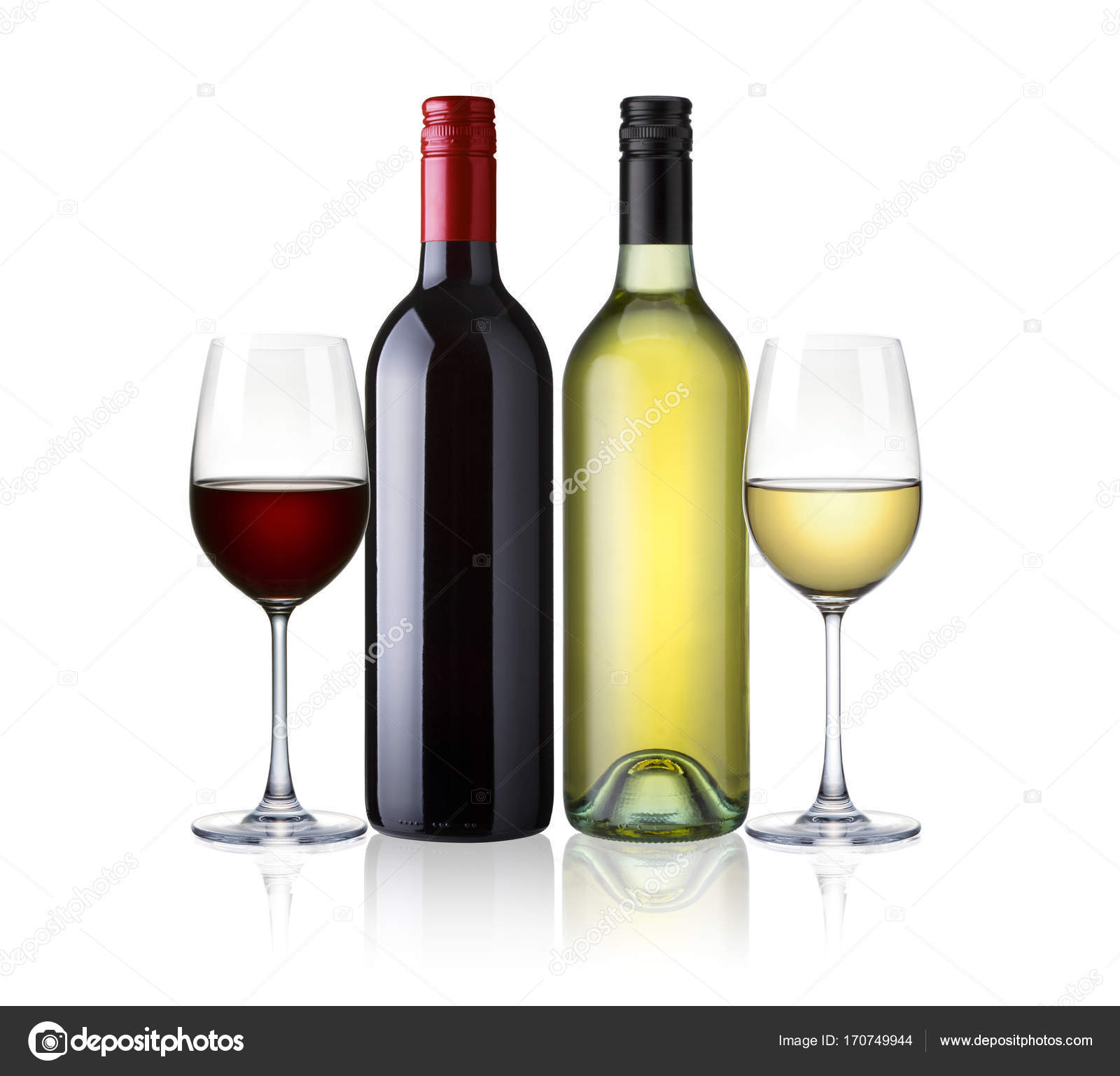 bottles and glasses of white and red wine isolated on white back stock photo somchaisom. Black Bedroom Furniture Sets. Home Design Ideas