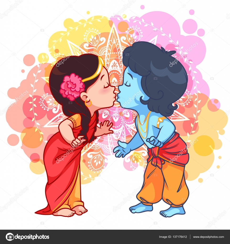 depositphotos 137176412 stock illustration little cartoon krishna kissing radha