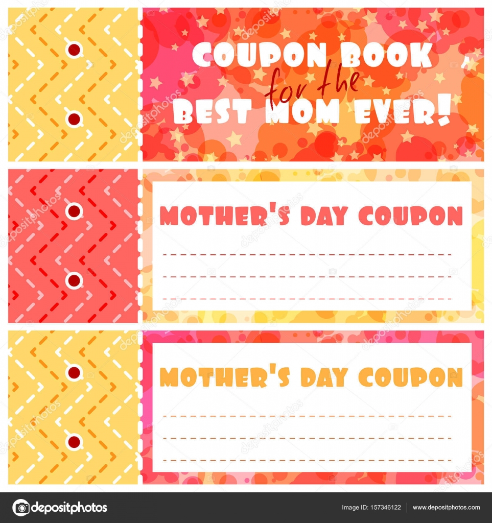 A template of the coupons book for mother\'s day. — Stock Vector ...