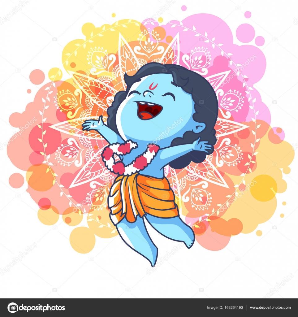 very happy little krishna is jumping stock vector yavi 163264190