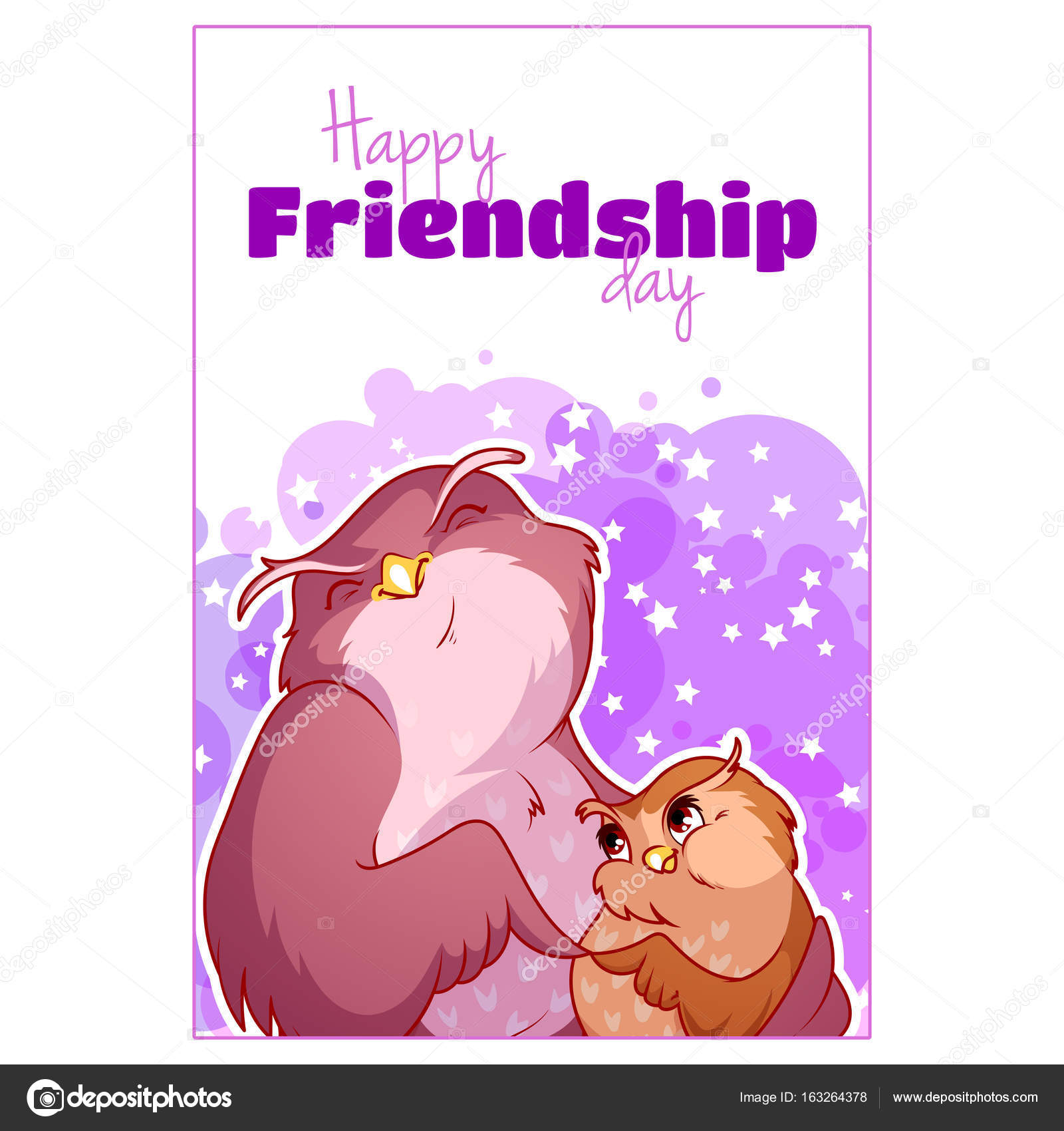 Greeting Card For Friendship Day With Two Cute Owls Stock Vector