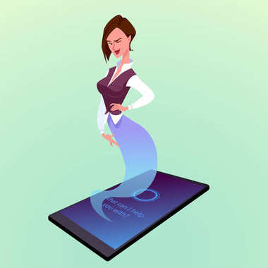 Modern smartphone with virtual woman assistant like a genie.