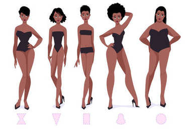 Set of female body shape types - five types. African american women.