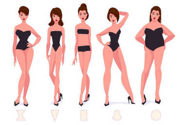 Set of female body shape types - five types.