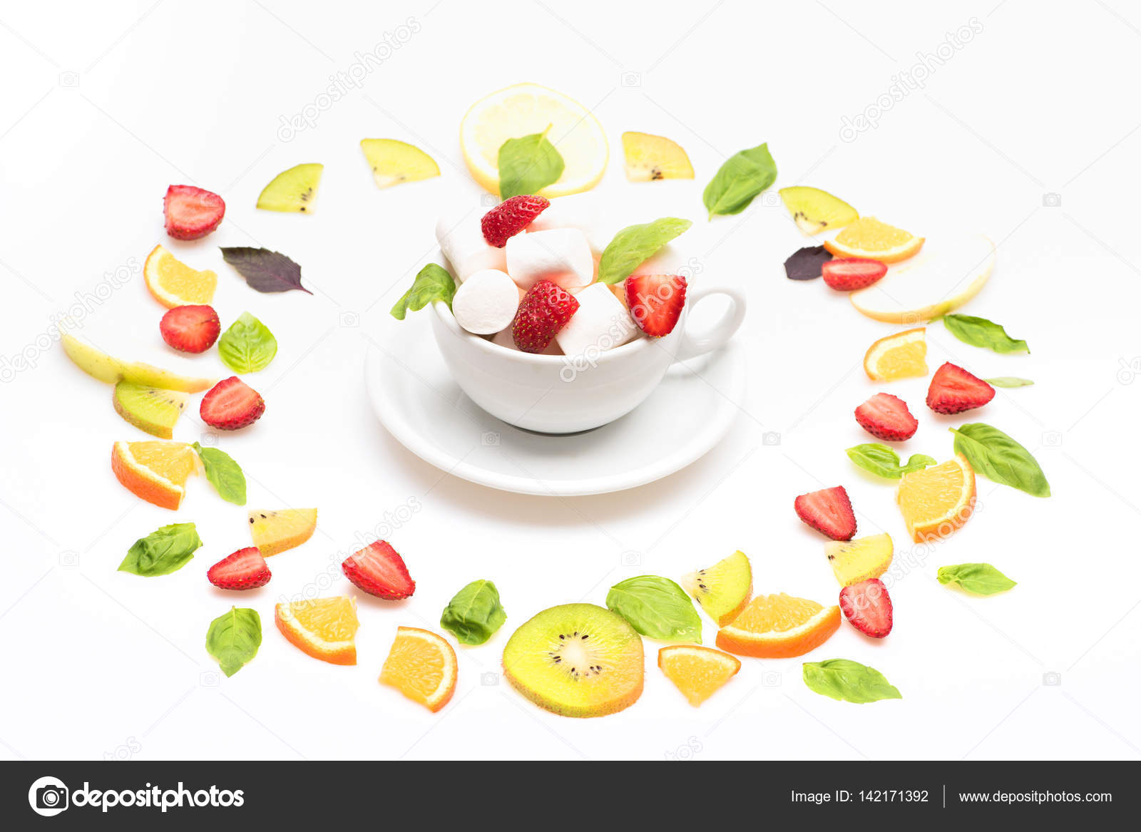 Marshmallows And Colorful Fruit Mix Dessert Isolated On