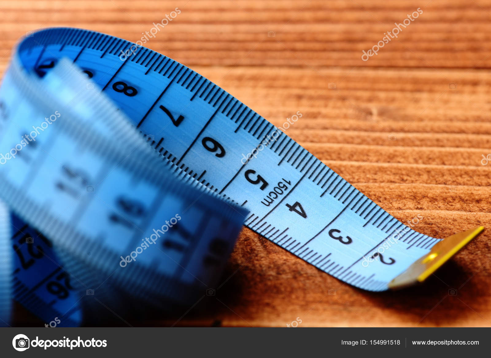 Tape for measuring in blue color with black numbers — Stock Photo ...