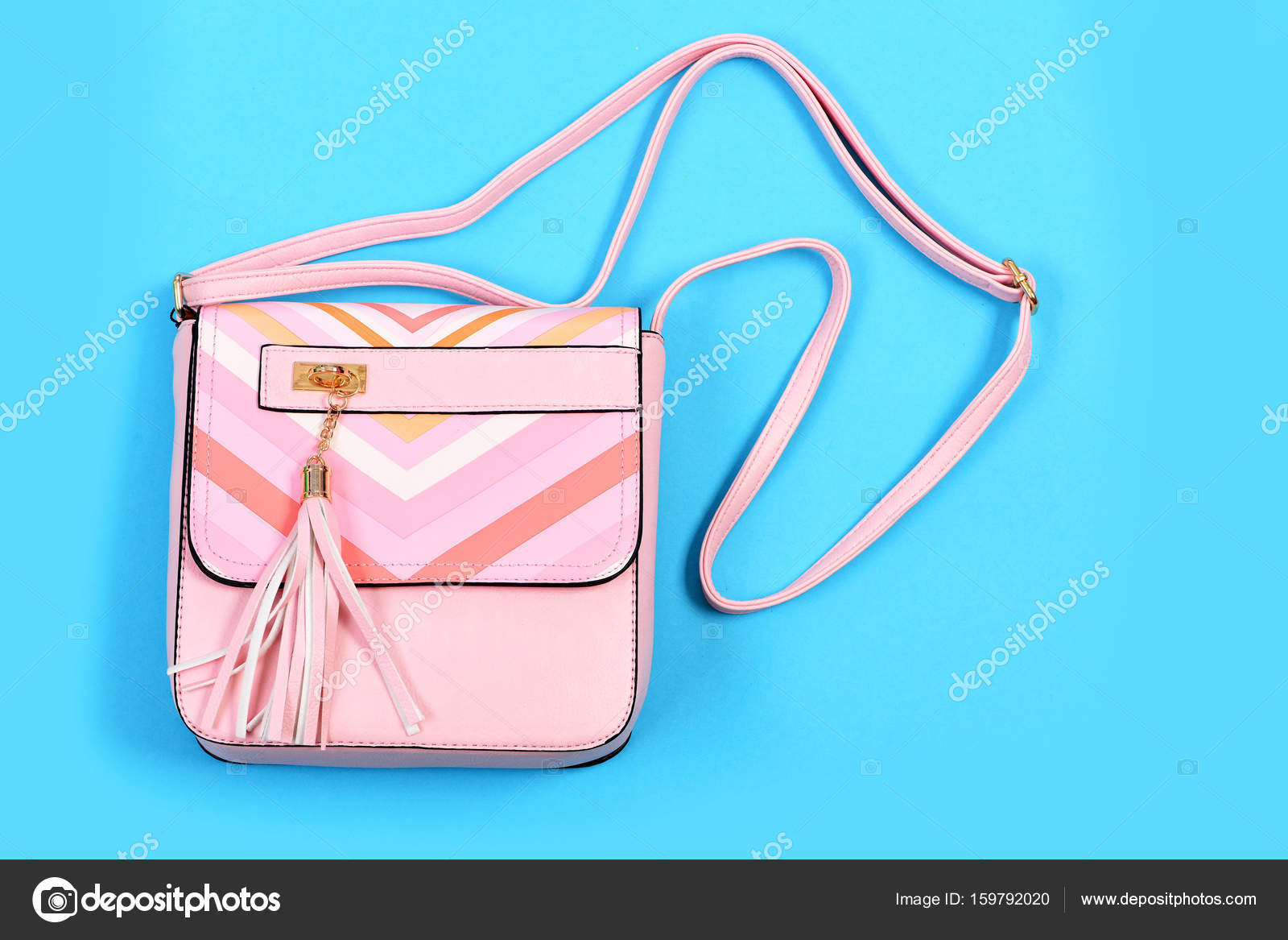 Purse In Light Pink Color With Stripes Handbag For Women Stock