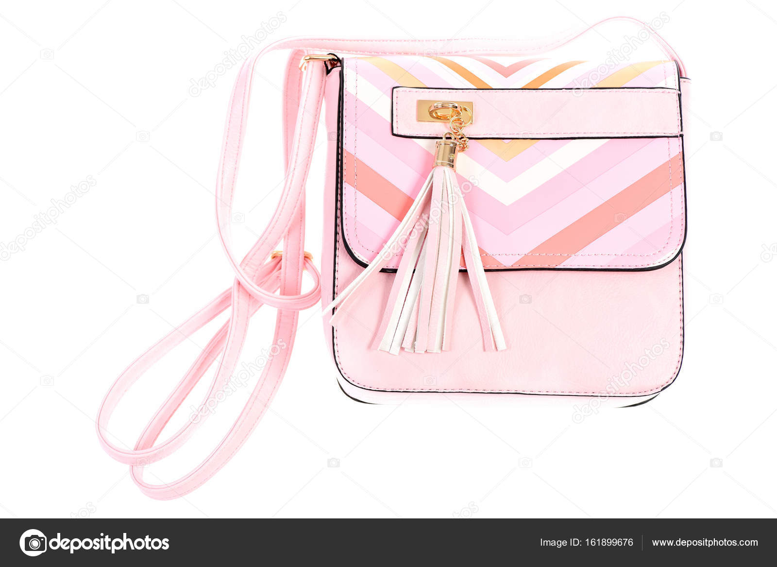 Leather Purse In Pink Colour Isolated On White Background Stock