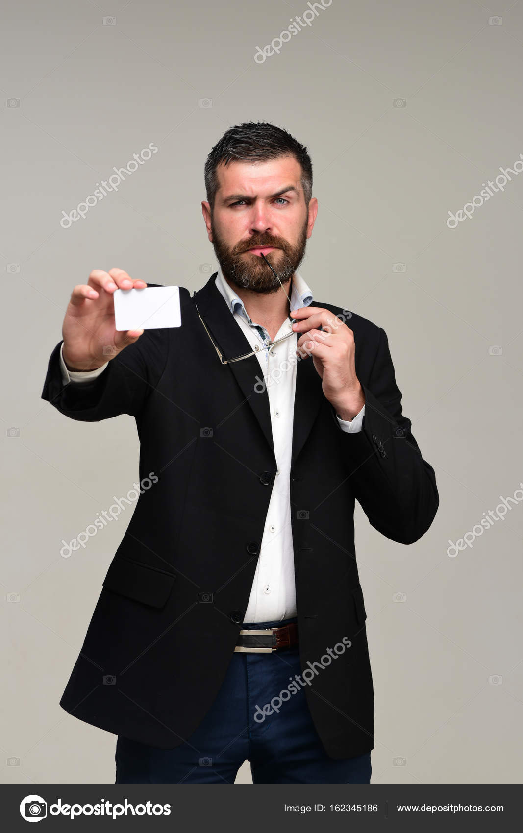 Guy with blank business card. Success and business — Stock Photo ...