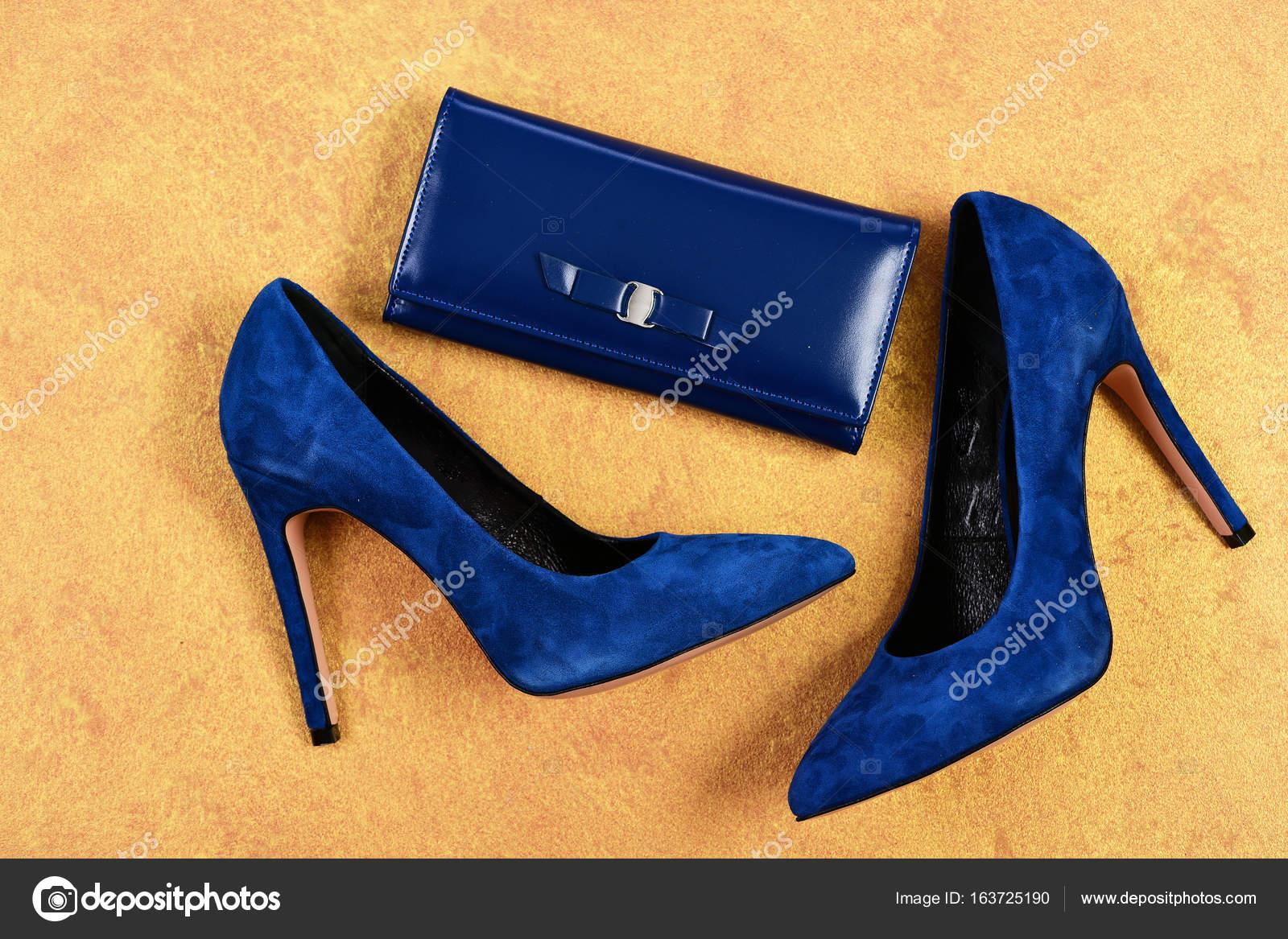 70e6c8b3d8 Sapatos e embreagem na cor azul escuro. Calçado de salto alto e acessórios  em fundo laranja desbotado. Par de sapatos feminino camurça chique