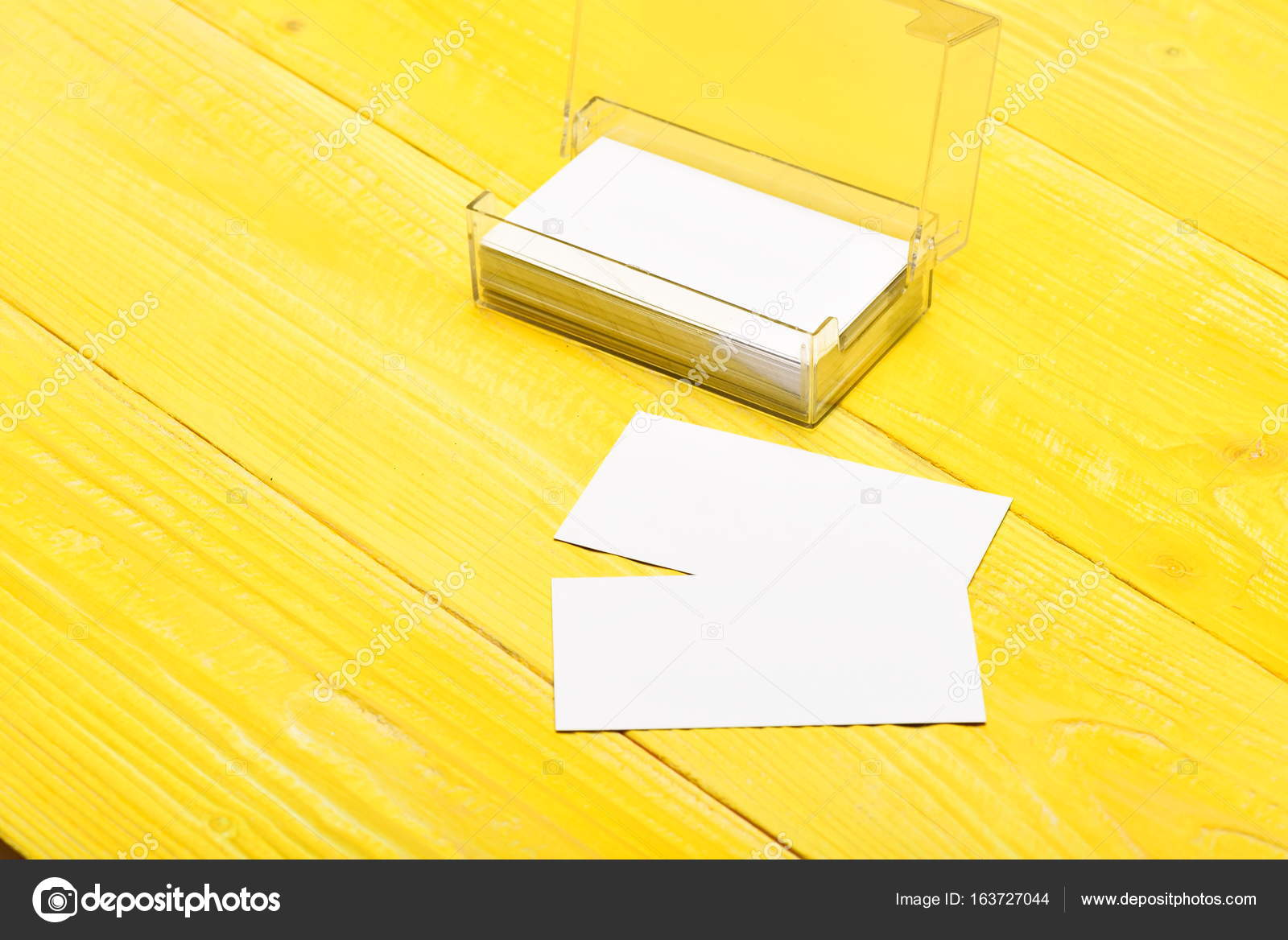 Transparent business card holder with blank papers — Stock Photo ...