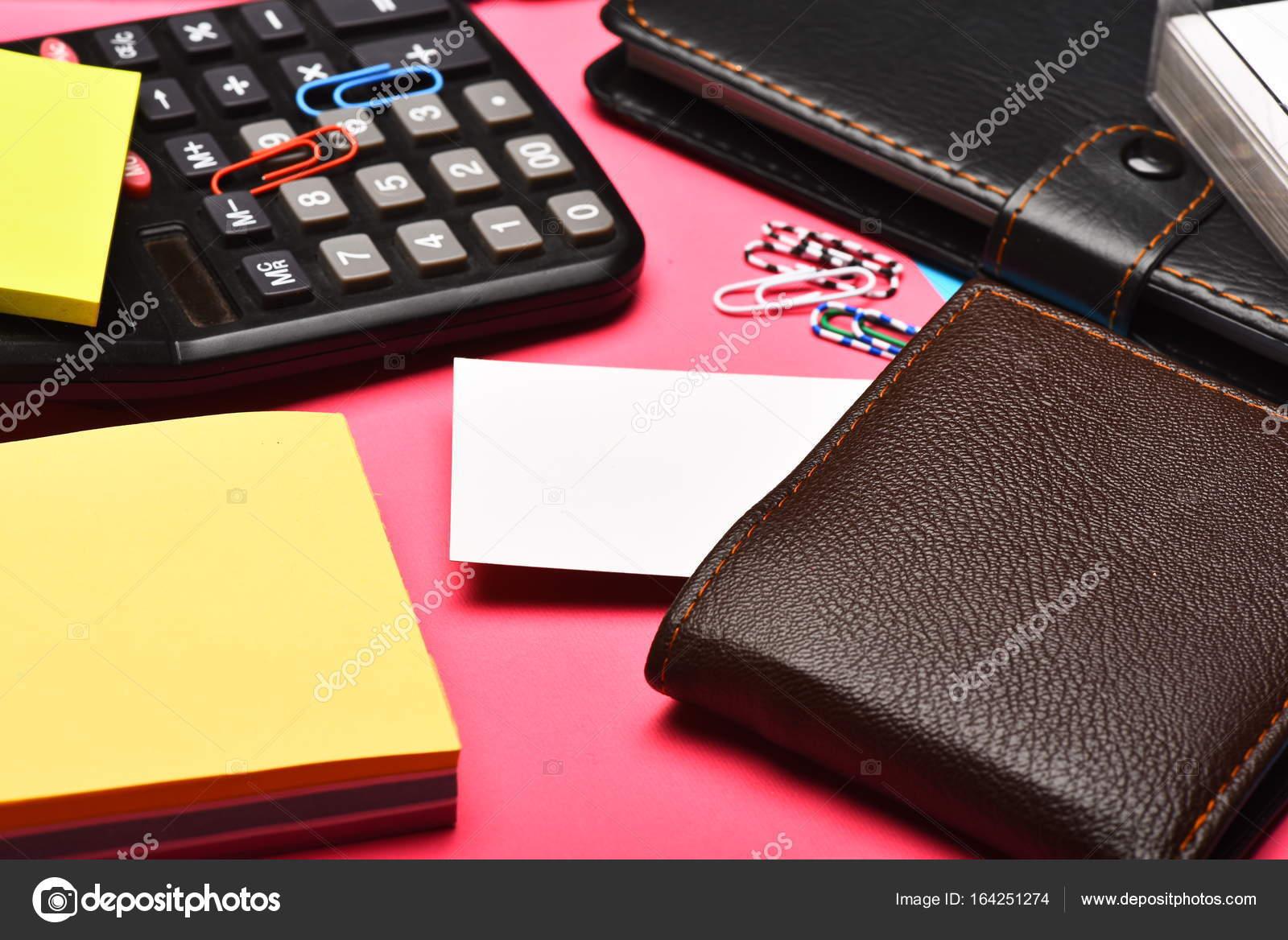 Zakelijke Portemonnee.Zakelijke En Werk Concept Lederen Portemonnee En Office Tools