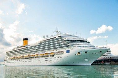 St. Johns, Antigua - March 05, 2016: ocean liner cruise ship Costa Magica in sea port. Summer vacation, travel, wanderlust. luxury