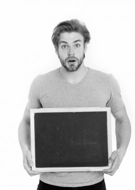 guy or surprised handsome man holding blackboard isolated on white background, copy space