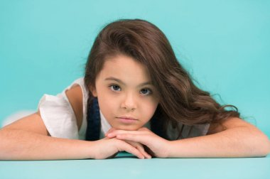 Small model with adorable face skin on blue background