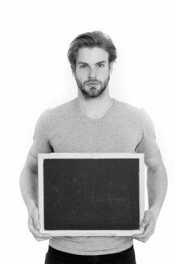 empty blackboard in hand of man or businessman