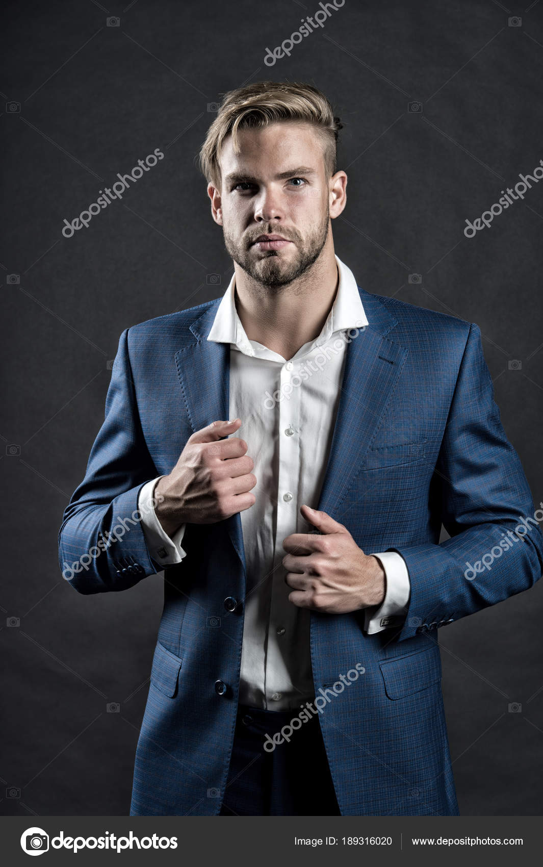 Businessman With Unshaven Face Hair Haircut Stock Photo