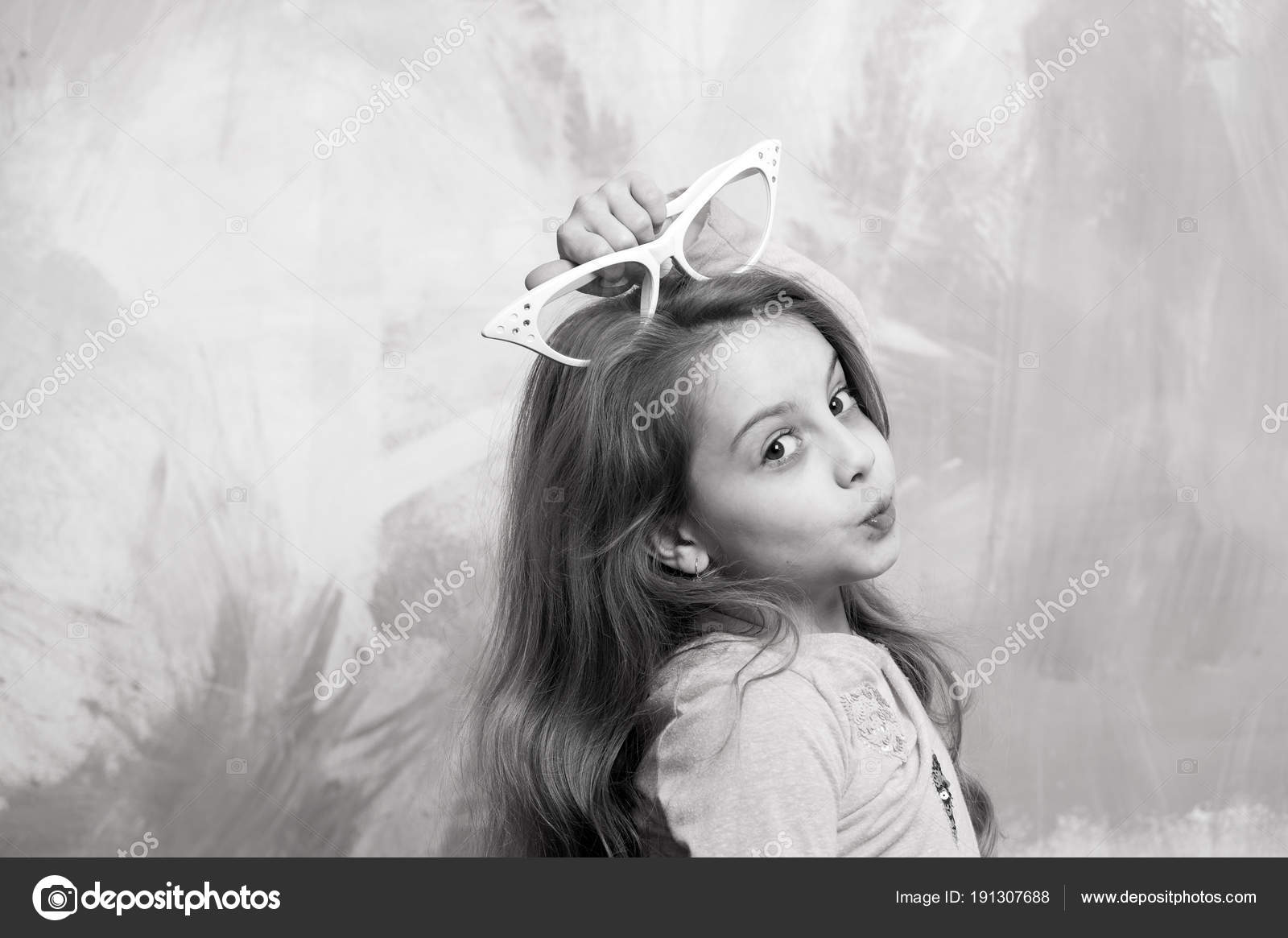 Glasses on girl kid with cute face  — Stock Photo © stetsik
