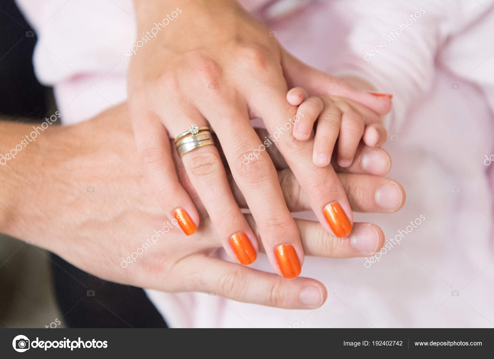 Family Hands Of Mother Father And Little Baby Unity Support And