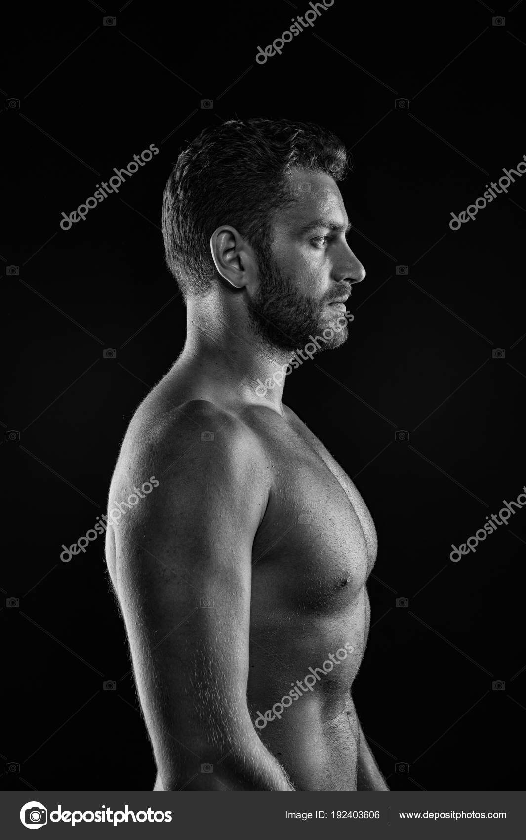 Sport Bodybuilding And Fitness Concept Bearded Man Athlete With Fit