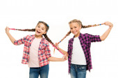 Such a long hair. Happy little girls wear plaited hair. Cute small childred hold hair braids. Luxurious hair extensions. Hairdressing salon for kids