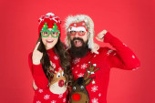 Fotografie Party accessories. Family holiday. Family values. Dad and daughter celebrate new year. Happy family. Small girl and cheerful father man. Family wear winter sweaters. Having fun. Christmas memories