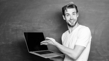 School teacher programming with laptop. Student learn programming language. Programming web development. Handsome man use modern technology. Digital technology. Apply online course for programmers