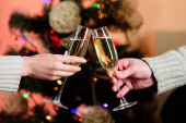 Cheers concept. New year tradition. Merry christmas. Almost midnight. Alcohol drink. Glass filled sparkling wine or champagne. Having nice time. Toast. Glass of champagne. Champagne couple glasses