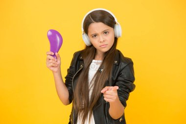you are next. school radio dj. hipster urban style girl. kid in headset. small girl sing favorite song. imagine you are pop star. singing karaoke. singer leather jacket. child listen rock music