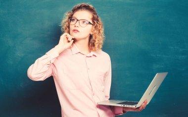 STEM student. Informatics and programming. Teaching online course. Online school. Study online. Teacher notebook chalkboard background. Woman surfing internet. Digital technology. Modern profession