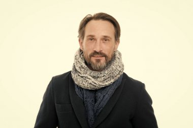Autumn fashion trends for mature adult. Mature man in autumn fashion style. Mature person with beard isolated on white. Mature fashion model wear cozy clothing for fall weather