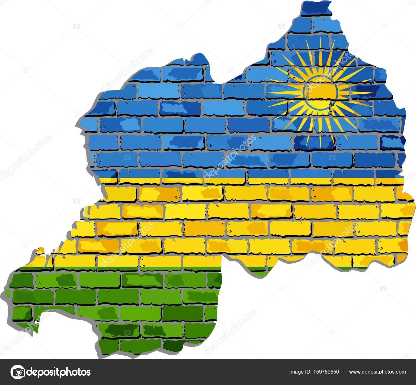 Rwanda map on a brick wall — Stock Vector © dusica69 #159789550
