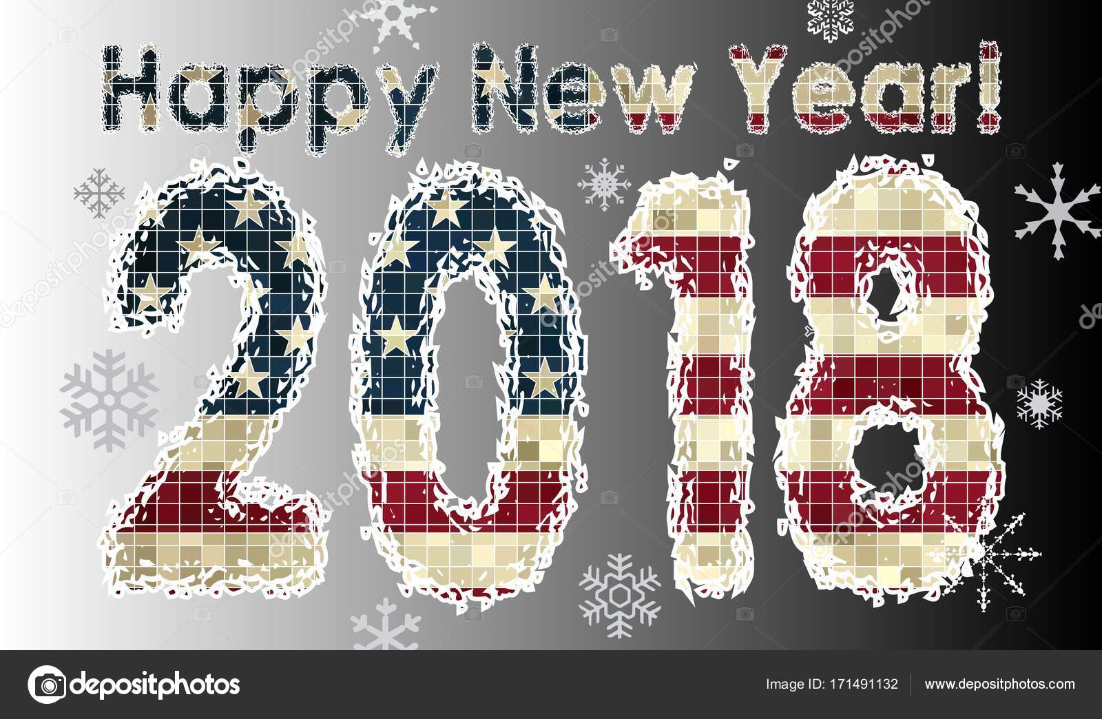 happy new year 2018 with flag of usa2018 happy new year numerals pocket calendar 2018 business card 2018 calendar vector by dusica69