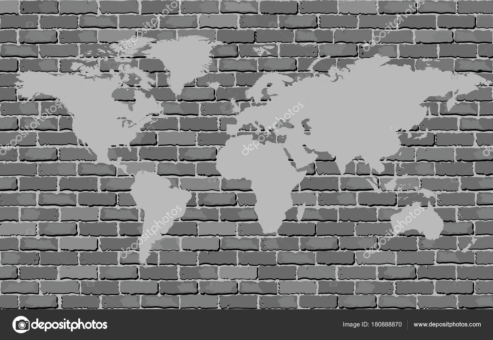 Black white world map brick wall vector image brick wall stock black and white world map on a brick wall vector image brick wall texture background soft tone gray color with world map vector by dusica69 gumiabroncs Choice Image