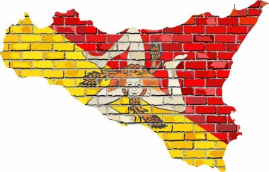 Sicily map on a brick wall - Illustration,  Sicily map with flag inside