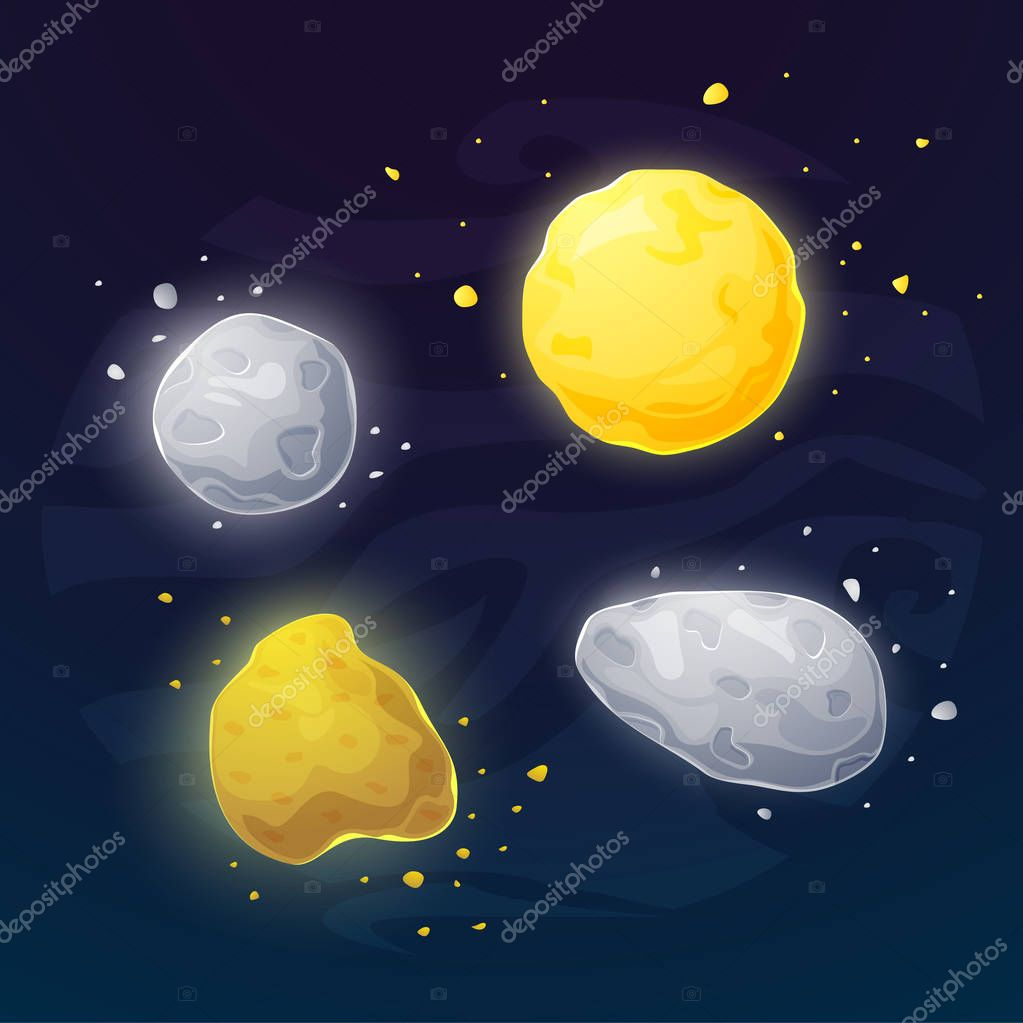 Set of space asteroids icons
