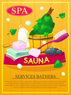 Sauna poster with spa services bathers