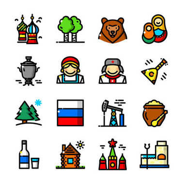 Thin line Russia icons set